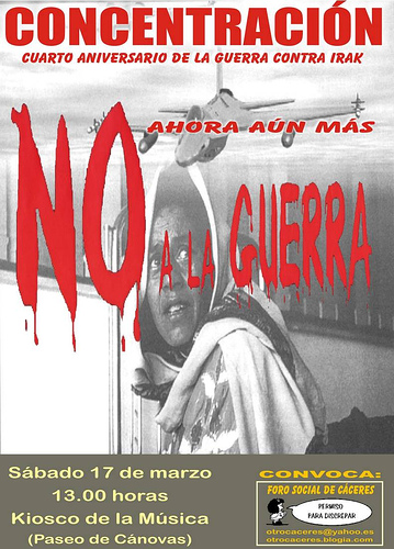 Concentración contra la guerra el 17 de marzo en Cáceres