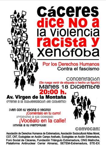 """Concentración """"Cáceres dice NO A LA VIOLENCIA RACISTA Y XENOFOBA"""""""