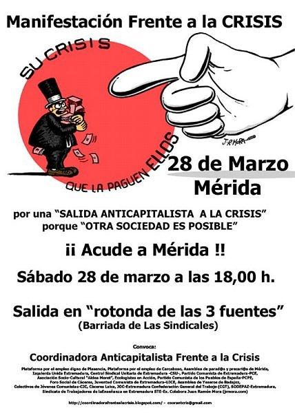 Manifestacion 28 de marzo. La crisis que la paguen ellos.