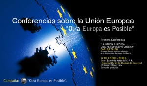 """Conferencia de  Carlos Taibo sobre la Unión Europea dentro de la campaña  """"Otra Europa es Posible"""""""