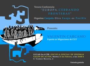 """Europa, cerrando fronteras"" conferencia de Valentín Cárcamo"