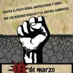 """12 de marzo: Manifestación """"Contra el pacto social, movilización y lucha"""""""